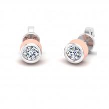 Diamond Studs In Two Tone Gold